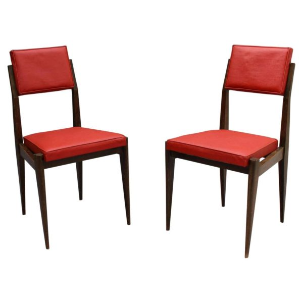 Pair of Fine French 1950s Beech Chairs