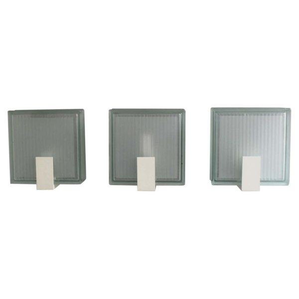 3 Exterior Watertight Glass Slab Sconces by Jean Perzel