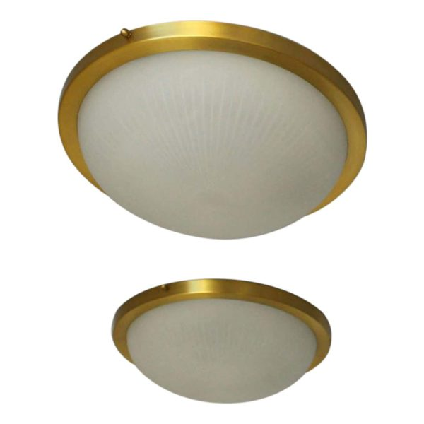 Pair of Fine French Art Deco Round Glass and Brass Flush Mount by Perzel