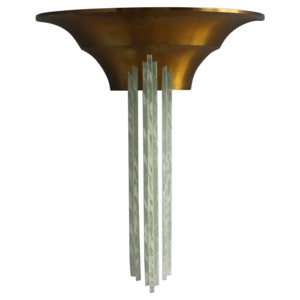 A Large Fine French Art Deco Bronze Sconce with Cascading Glass Slabs by Perzel