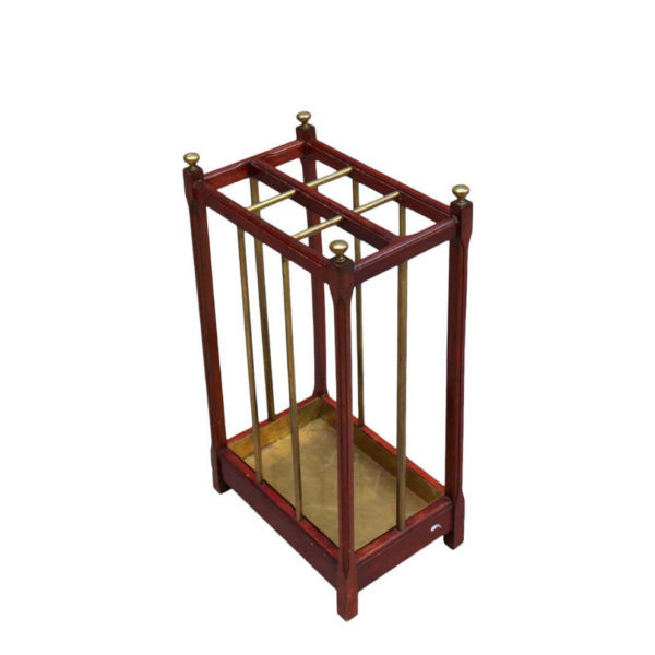 Fine French 1900s Brass and Wood Umbrella Stand