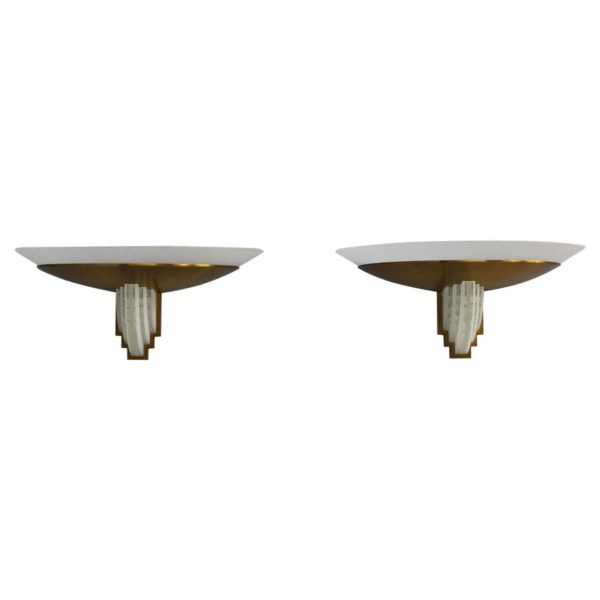 Pair of Fine French Art Deco Bronze and Cut Glass Sconces by Perzel