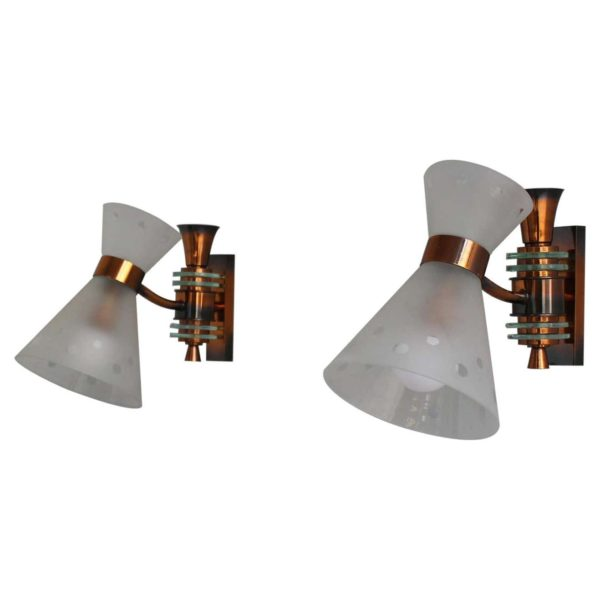 Pair of French 1950s Copper Diabolo Glass Sconces