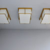 Set of Three Rectangular Glass and Bronze Ceiling Lights by Jean Perzel