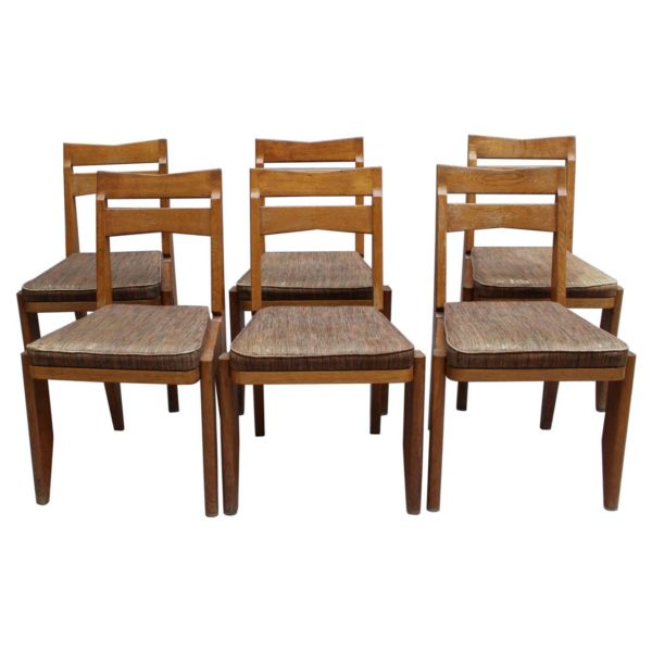 Set of 6 Fine French 1950s Oak Dining Chairs by Guillerme et Chambron